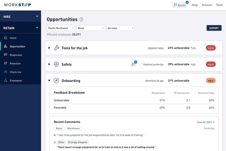 Screenshot of WorkStep Retain
